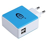 BTY M531 Universal Dual USB AC Power Adapter Charger - Blue + White (EU Plug / 100~240V)