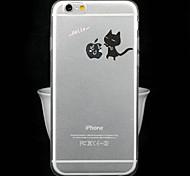 Fashion Ultra-Thin Transparent Cartoon Series Black Cat TPU Soft Back Cover for iPhone 6