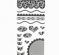 1PC New 3D Black Full Nail Art Stickers Lace Nail Wraps Nail Decals Flower Heart Nail Polish Decorations