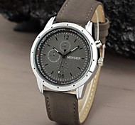 Men's Outdoor Sport Round Military Dial Scrub Leather Band Quartz Watch  (Assorted Color)