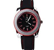 Men's Fashion Digital Calibration Big Round Watch Dial Silicone Strap Quartz Movement Wrist Watches (Assorted Colors)