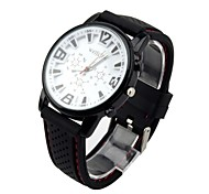 Men's Women's Sport Watch Quartz Analog Water Resistant Silicone Watches Three Sub-Dials Big Dial