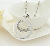 Fashion Rhinestone Silver Double Ring Long Necklace