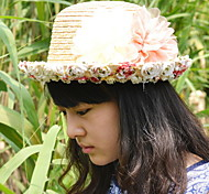 Large Flower Garden Floral Cuffs Dome Lace Straw Hat