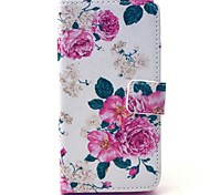 Beautiful Rose Flower Pattern PU Leather Case with Money Holder Card Slot for Samsung Galaxy A3