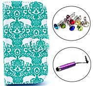 Flower Elephant Pattern PU Leather Case with Stylus and Dust Plug for Samsung Galaxy Trend Lite S7390/S7392