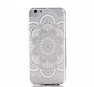 White Mandala Flower Pattern Ultra Thin TPU Soft Back Cover Case for iPhone 6/6S