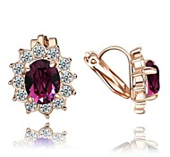 Crystal Clip-On Earrings New Style Sun Flower 18K Rose Gold Plated Fashion Jewelry