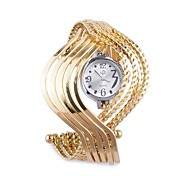Women's Bangle Bracelet Quartz Wrist Watch with Mulriple Heliciform Loops(Golden)