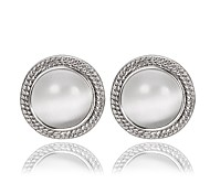 Vintage Round Big Opal White Platinum-Plated Stud Earrings (White)(1Pair)