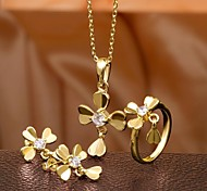 Fashion Inlaid Zircon Gold Plated Flower Jewelry Set (1 set)