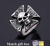 U7® Punk Ring 316L Stainless Steel Fashion Jewelry Cool Skull Cross Ring Party Jewelry for Men High Quality