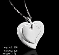 Charming Silver Double Heart  Shape Women's Pendents