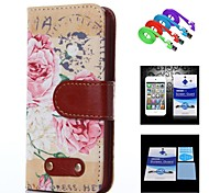 Peony Pattern Full Body Case+1 HD Screen Protector+1 USB Data Transmit and Charging Cable for iPhone 5/5S