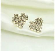 High Quality Plating Gold Full Diamond Love Heart Earrings