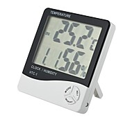 "3.9"" LCD Digital Temperature Humidity Meter w/ Alarm Clock - White (1 x AAA)"