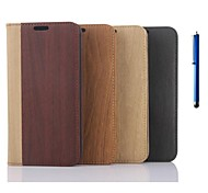 5.1 Inch Wooden Pattern Wallet Leather Case with Pen for Samsung GALAXY S6(Assorted Colors)