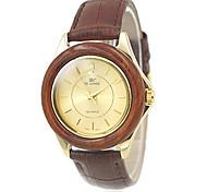 bois le cas de l'or des femmes cadran rond brun bracelet en cuir montre-bracelet à quartz