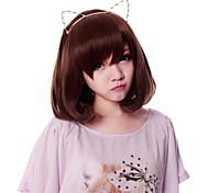 cerniera simpatico gattino marrone 35 centimetri caschetto corto parrucca dolce lolita