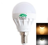 1pcs Zweihnder E14 3W 280LM 3000/6500K 5x5730 SMD LEDs White/Warm Light Radiating Globe Bulb (AC 170-240V)