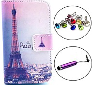 Signature Eiffel Tower Pattern PU Leather Case with Stylus and Dust Plug for Samsung Galaxy Fame S6810/S6818