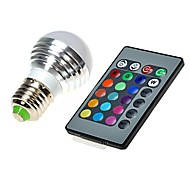 E27 110V 3W RGB LED 16 Color Change Light Lamp Bulb + IR Remote Control