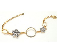 New Fashion Lady`s Jewelry 18K Rose Gold Plated Shining Austria Crystal Flower With Circle Bracelet