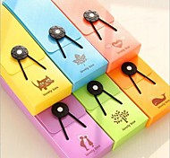 Cute Pinky Color Plastic Pencil Box with Elastic Cord Random Color