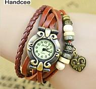 Handcee® Watch Women's Fashion PU Wrist Watch Popular Watch with Peach Heart Decoration Watch