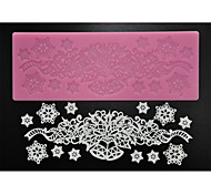 FOUR-C Sugar Craft Supplies Silicone Lace Pad Decoration Mat for Baking,Silicone Mat Fondant Cake Tools Color Pink
