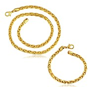 Gold Plated 5MM Round Fashion Jewelry Sets Necklace bracelet