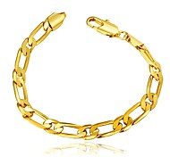 Simple Fashion Women's One Spacing Copper Gold Plated Chain & Link Bracelet(Golden)(1Pc)