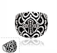 Maya Classical Individual New Style Punk Stainless Steel Man Ring(Black)(1Pcs)