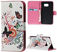 Vivid Butterfly Circle PU Leather Case Cover with Stand and Card Slot for Samsung Galaxy S6 G920