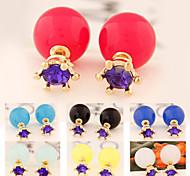 Korea Simple Purple Rhinestone Ball Pearl Stud Earring(1pair)(more color)