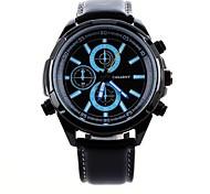 Cagarny Men's Fashion Calendar Decoration Circular Dial PU Leather Strap Quartz Movement Wrist Watches (Assorted Colors)