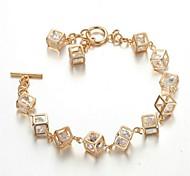 Crystal Box Rhinestone Jewelry 18K Rose Gold Plated Cube Chain Classic Tennis Bracelet