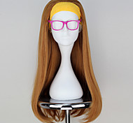 New Movie Big Hero 6 Honey Lemon Long Wavy Dark Yellow Movie Cosplay Wig with Hair band & Glass