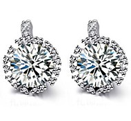 Fashion Jewelry Zircon Small Stud Earrings  10KT White Gold Filled Earring For Women Lady 2014 High Quality