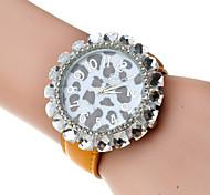 relógio grande leopardo diamante dail quartzo de couro pu das mulheres (cores sortidas)