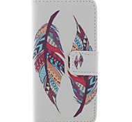 LEXY® Two Feather Pattern PU Full Body Leather Case with Screen Protector and Stylus for iPhone 5/5S