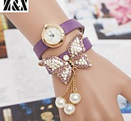 Women's Diamond Bow Pearl Quartz Analog Bracelet Watch(Assorted Colors)