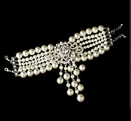 Luxurious Diamond Pearls Aolly Silver Bracelet For Women Lades Bridal Birthday GIft Party Beach Wedding Dance