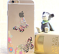 Diamond Butterfly Couple Painting Transparent Plastic Case for iPhone 6