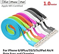 Assorted Colors Apple MFi Certified Lightning to USB Data Sync Charger Flat Cable for iphone 6/6plus/5s/5/ipad(100cm)
