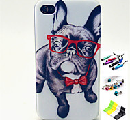 Glasses Dog Pattern with Stylus ,Anti-Dust Plug and Stand TPU Soft Case for iPhone 4/4S