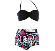 Black Bandeau Top Floral Vintage High Waist Brazilian Bikini Set