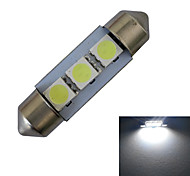 JIAWEN® Festoon 36mm 1W 3x5050SMD 60LM 6000-6500K Cool White Reading Light LED Car Light (DC 12V)