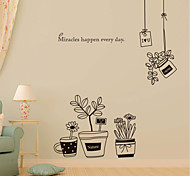 Wall Stickers Wall Decals, Simple Black Flowerpot PVC Wall Stickers