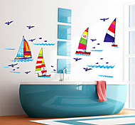 Fashion Colorful Sailboat PVC Wall Stickers Wall Art Decals